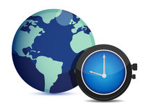 Globe with clock. international time Royalty Free Stock Photos