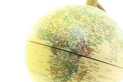 The globe close up, Africa past. On white background Royalty Free Stock Photo
