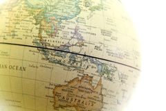 The globe close up, Asia past. On white background royalty free stock photos