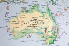 Globe close up. Map of continents - Australia. An indispensable device for geography lessons