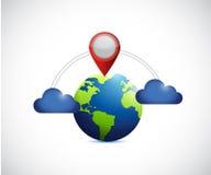 Globe and cloud communication locator. Royalty Free Stock Image