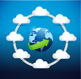 Globe cloud computing network diagram concept Stock Photos