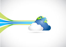 Globe and cloud illustration design Stock Photos