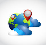 Globe clouds and locator pointers illustration Stock Photos