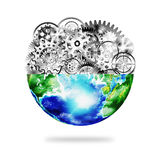 Globe with cogs and gears Stock Image