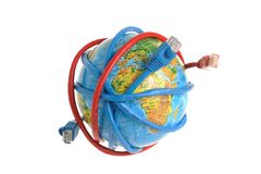 Globe coiled with network wires Royalty Free Stock Photography