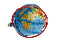 Globe coiled with network wires. On a white background Royalty Free Stock Photos