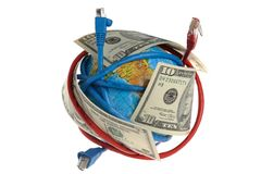 Globe coiled with wires and dollars. On a white background Stock Image
