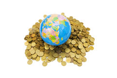 Globe and coins isolated Stock Photos