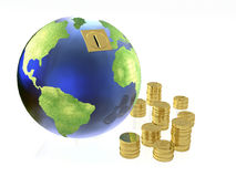 Globe and coins on white Royalty Free Stock Photos