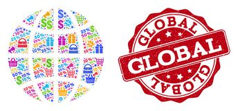 Globe Collage of Mosaic and Distress Stamp for Sales stock illustration