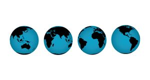Globe collection. Vector illustration of globes of the earth in various rotated views to expose different continents vector illustration