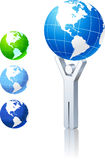 Globe collection with stick figure. 