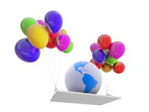 Globe on color balloons Royalty Free Stock Images