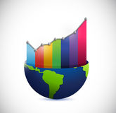 Globe and color graph illustration design. Over a white background Royalty Free Stock Image