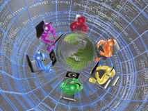 Globe and color mans Stock Images