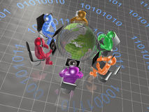 Globe and color mans Royalty Free Stock Photo