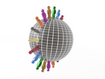 Globe and color mans Royalty Free Stock Photography