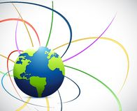 Globe and color waves lines illustration design Stock Photo