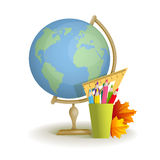 Globe and colored pencils and autumn leaves. Vector. Royalty Free Stock Photos