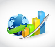 Globe and a colorful business graph illustration Royalty Free Stock Image