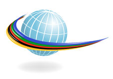 Globe with the colors of the five continents. Vect Stock Photo