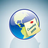 Globe & Coming Soon Sticker Royalty Free Stock Photography
