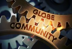 Globe Community on the Golden Gears. 3D Illustration. Globe Community on the Mechanism of Golden Metallic Cog Gears with Lens Flare. Golden Cogwheels with Globe stock image