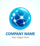Globe company logo. Globe company logo of connecting. Sign for Internet technologies, global missions, flying, communications and other businesses. Stained Stock Images
