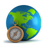 Globe with compass. Vector illustration Royalty Free Stock Photos