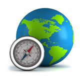 Globe with compass. Vector illustration Stock Photography