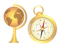 Globe and compass Royalty Free Stock Photography