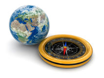 Globe and Compass (clipping path included) Stock Image