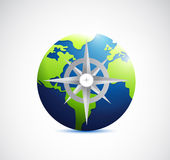Globe and compass illustration design Royalty Free Stock Photos