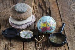 Globe and compass Stock Photo