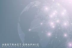 Globe complexe du monde de grandes données Communication abstraite graphique de fond Contexte de perspective de profondeur Minima illustration libre de droits