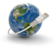 Globe and Computer Cable Stock Images
