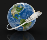 Globe and Computer Cable (clipping path included) Stock Images