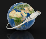 Globe and Computer Cable (clipping path included) Stock Photos