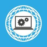 Globe computer gears communication Stock Photography