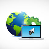 Globe and computer industrial connection. Stock Image