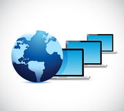 Globe and computer laptop network illustration Stock Photography