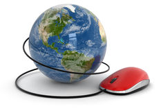 Globe and Computer Mouse (clipping path included) Royalty Free Stock Photo