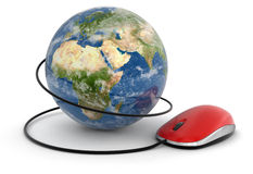 Globe and Computer Mouse (clipping path included) Royalty Free Stock Images