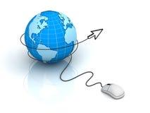 Globe with computer mouse cursor Stock Photos