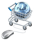 Globe computer mouse shopping cart Stock Photos