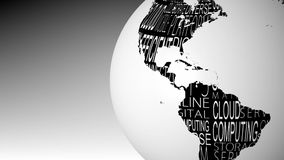 Globe of computing words spinning. In black and white animation royalty free illustration