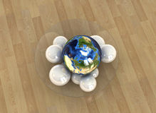 Globe concept 3. Unique Globe placed in a Bowl with other white spheres depicting unity and uniqueness and harmony Stock Photo