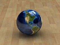 Globe concept 5. Unique Globe on a woodden floor vector illustration