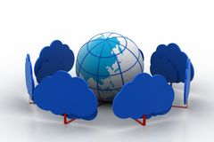 Globe connect with cloud Stock Image